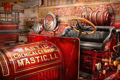Suburbanscenes Photograph - Fireman - Mastic Chemical Co by Mike Savad