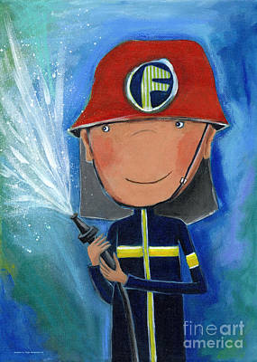 Crafts For Kids Painting - Fireman by Sonja Mengkowski