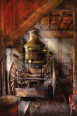 Photograph - Fireman - Steam Powered Water Pump by Mike Savad