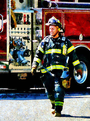 Helmet Photograph - Fireman by Susan Savad