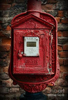 Old-fashioned Photograph - Fireman - The Fire Alarm Box by Paul Ward
