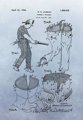 Comic Character Paintings - Fireman Trousers Patent by Dan Sproul