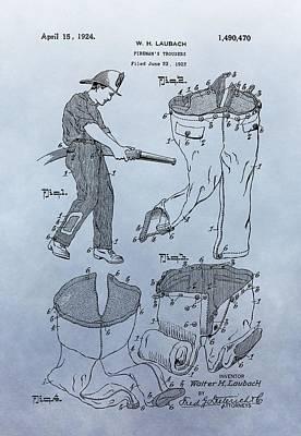 Fireman Trousers Patent Art Print by Dan Sproul