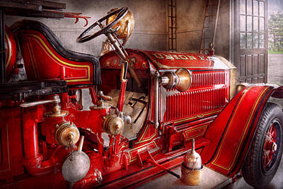 Old Fashioned Photograph - Fireman - Truck - Waiting For A Call by Mike Savad