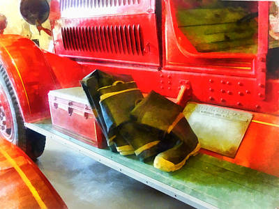 Photograph - Fireman - Two Pairs Of Boots On Fire Truck by Susan Savad