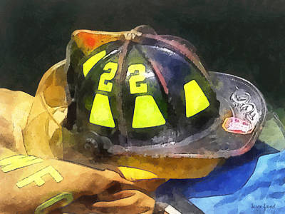 Fireman's Helmet On Uniform Art Print by Susan Savad
