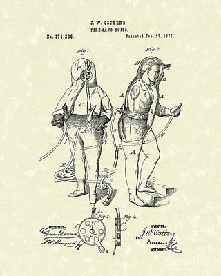 Protection Drawing - Fireman's Suits 1876 Patent Art by Prior Art Design