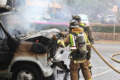 Photograph - Firemen At Work by John Orsbun