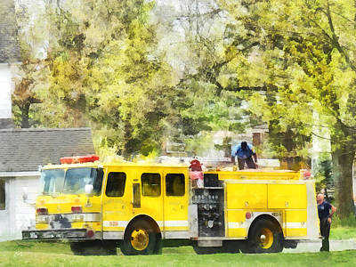 Truck Photograph - Firemen - Back At The Firehouse by Susan Savad