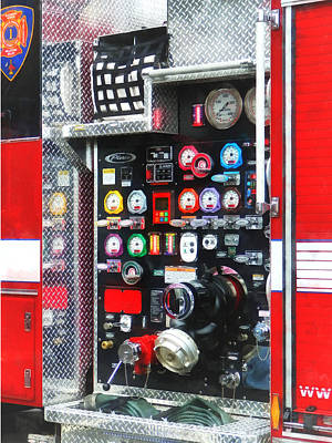 Photograph - Firemen - Colorful Gauges On Fire Truck by Susan Savad