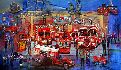 Painting - Firemen's Convention by Dan Nelson