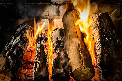 Wood Burning Photograph - Fireplace II by Marco Oliveira