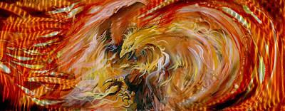 Combustion Painting - Firestorm Hawk by Luis  Navarro