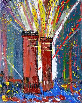 Painting - Firetowers Fireworks by Leslie Byrne