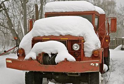 Firetruck Covered By Snow Original by Ralph  Fiskness