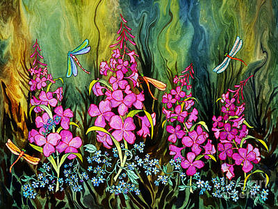 Fireweed And Dragonflies Art Print