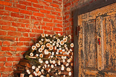 Firewood And Door Art Print by Bobby Villapando
