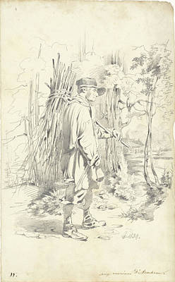 Loon Drawing - Firewood Gatherer, Pieter Van Loon by Quint Lox