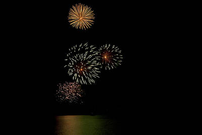 Mountain Landscape Royalty Free Images - Firework Display Royalty-Free Image by Joel  Bourgoin