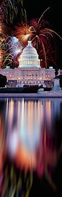 Capitol Building Photograph - Firework Display Over A Government by Panoramic Images