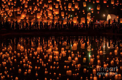 Oil Lamp Photograph - Firework Festival In Chiang Mai  by Anek Suwannaphoom