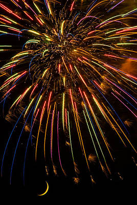 Abstract Moon Photograph - Firework Indian Headdress by Darryl Dalton