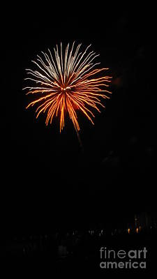 Fireworks - White And Orange Art Print by Gayle Melges