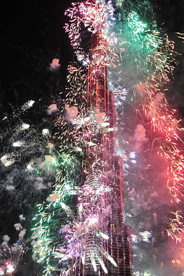 Photograph - Burj Khalifa Fireworks 12 by Dragan Kudjerski
