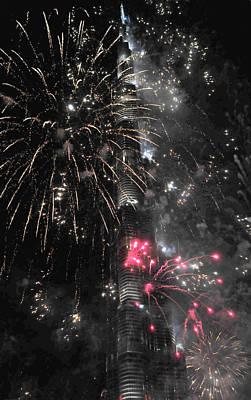 Photograph - Burj Khalifa Fireworks 8 by Dragan Kudjerski