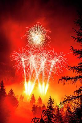 Fireworks Above Toce Falls, Formazza Art Print