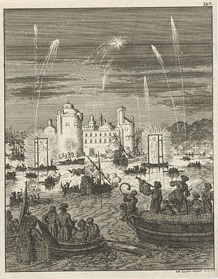 Special Occasion Drawing - Fireworks And Gondolas In Cairo, Egypt, Jan Luyken by Jan Luyken