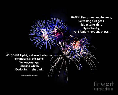 Photograph - Fireworks And Poem by Grace Grogan