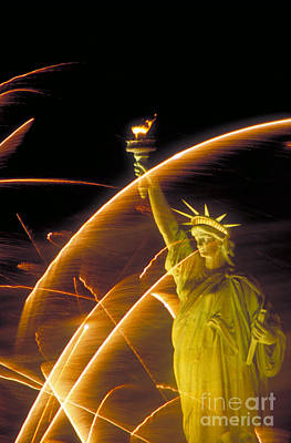 Fireworks And The Statue Of Liberty Print by Andy Levin