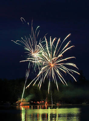 Photograph - Fireworks At A Maine Lake by Barbara West