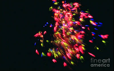Light Photograph - Fireworks At Night 4 by Lanjee Chee