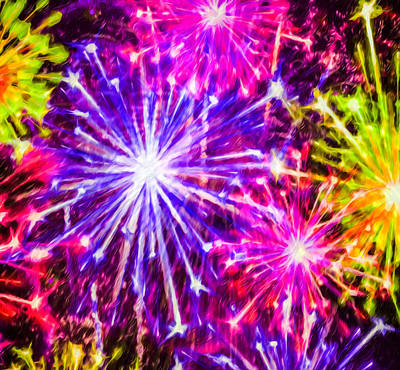 Freedom Party Painting - Fireworks At Night 7 by Lanjee Chee