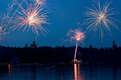 Photograph - Fireworks At The Lake by Barbara West