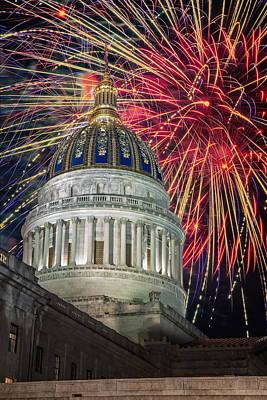 Fireworks At Wv Capitol Art Print by Mary Almond