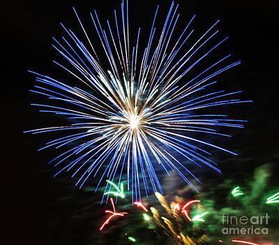 Fireworks Blue-white Art Print by Katja Zuske
