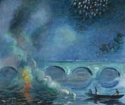 Fireworks Painting - Fireworks Bridge At Vernon.france by Theodore Earl Butler