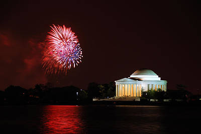 Photograph - Fireworks By Lake In Washington Dc by Songquan Deng