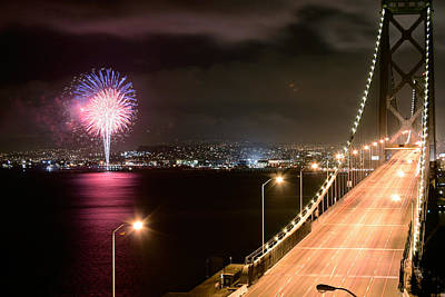 Photograph - Fireworks By The San Francisco Bay Bridge by Mathew Lodge