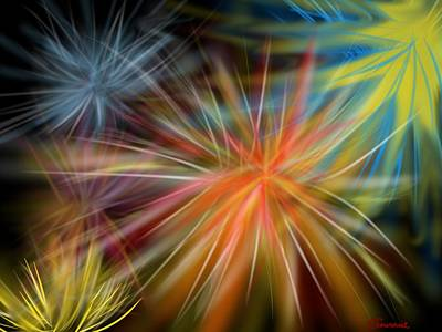 Art Print featuring the digital art Fireworks by Christine Fournier