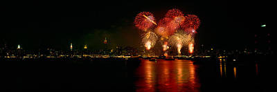 Fireworks Display At Night Art Print