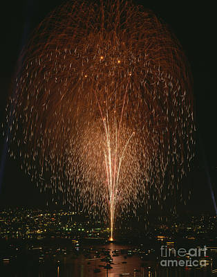 Photograph - Fireworks Display Over Lake Union  by Jim Corwin