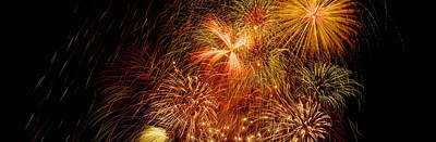 Luxembourg Photograph - Fireworks Exploding At Night, Luxembourg by Panoramic Images