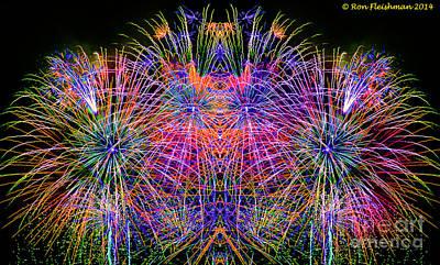 Blending Photograph - Fireworks Faces by Ron Fleishman