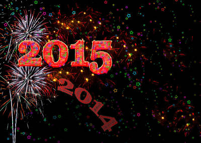 Fireworks Happy New Year 2015 Art Print