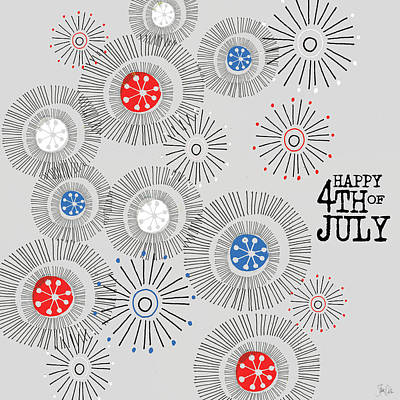 Patriotic Painting - Fireworks I by Shanni Welsh