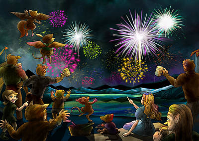 Art Print featuring the painting Fireworks In Oxboar by Reynold Jay